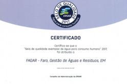El agua de Faro, certificada con sello de excelencia